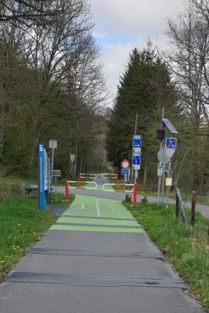 Venn-Eifel-Mosel-Radweg, Querung Straße in Belgien