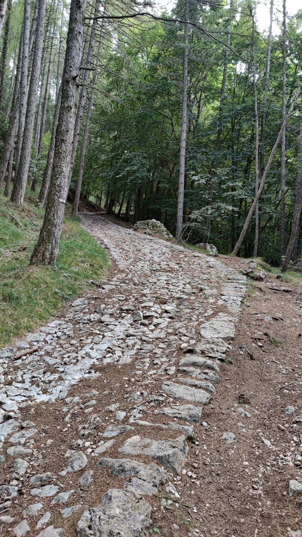 """Abstieg vom Monte Baldo """"gepflasterte"""" Wege"""